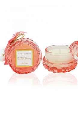 Αρωματικό κερί στρογγυλό ροζ με άρωμα Wild Berry